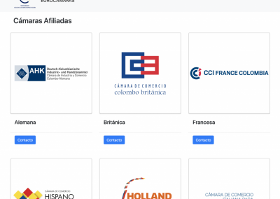 Website for the European Chambers of Commerce in Colombia (EUROCÁMARAS)
