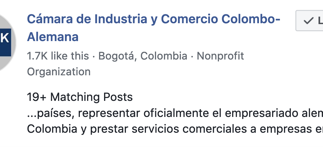Growth Hacking AHK Colombia's Facebook Page